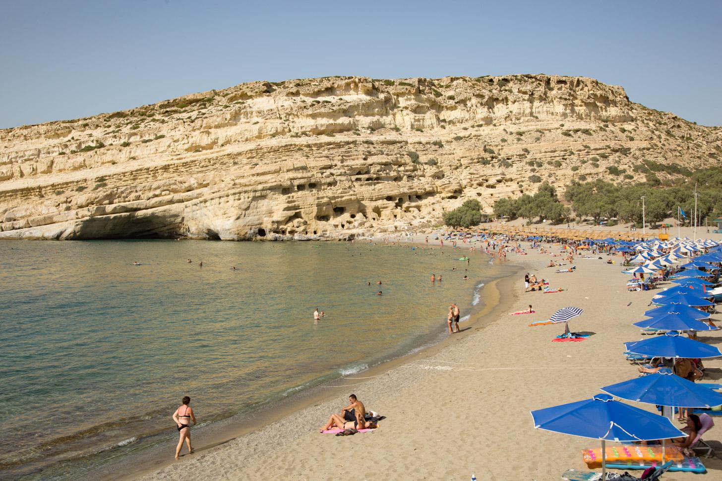 Het strand van Matala